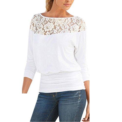 Damen Bluse Xinan Bluse Hülsen Spitze Langarm Loose Shirt Tops (L, Weiß) (Langarm Seiden-chiffon-bluse)