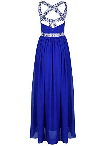 Azbro Women's Sweetheart Sleeveless Long Prom Chiffon Dress Navy