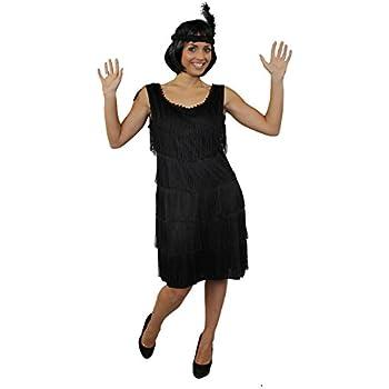 7973b196b1bc8 Déguisement pour femme des années 20 avec cette magnifique robe noire à  franges devant et derrière style charleston + un bandeau à plume assorti +  un ...