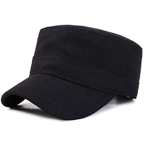 Huichao Herbst-und Winterkappen Flachsohrschutz warm alte Baseballkappe,Black