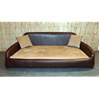 Zippy Faux Leather Sofa Pet Dog Bed - Extra Large - Brown & Beige Faux Suede
