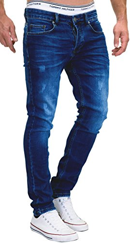 MERISH 5-Pocket Denim Jeans Stretch Used Look Skinny Modell 011 Dunkelblau 31-32 (Herren Capri-hosen Neue)