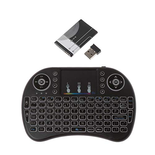Chiic 2,4 GHz Mini Wireless I8 Teclado, 7 Colores retroiluminada con ratón touchpad para KODI XBMC Frambuesa Pi Android TV PS3 Control Remoto, Alimentado por Li-Ion Batería (Incluido)