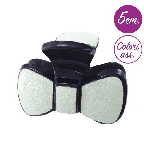 207 – 401 – Pince pour cheveux noeud simili cuir cm 5 – Pinces pour Cheveux Lunghezza cm. 5 Bianco