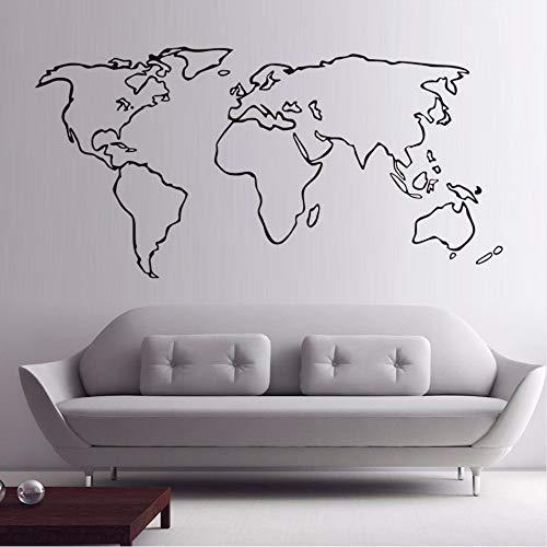 Waofe Mapa Del Mundo Grande De Vinilo Etiqueta De La Pared Decoración Del Hogar Accesorios Para Sala De Estar Adhesivo Extraíble Mapa Del Contorno Calcomanías De Pared 117 * 58 Cm
