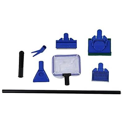 Aquarium Reinigung Set - SODIAL(R) Aquarium Reinigung Net Schotter Rechen Algen Schaber Flant Gabel Schwamm Set