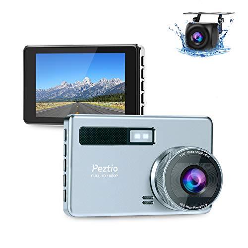 Dashcam Auto Vorne Hinten, Full HD 1080P Autokamera 3,2 Zoll IPS-Bildschirm mit 720P Rückfahrkamera, Nachtsicht 170°Weitwinkelobjektiv, G-Sensor, WDR, Loop-Aufnahme, Bewegungserkennung, Parkmonitor