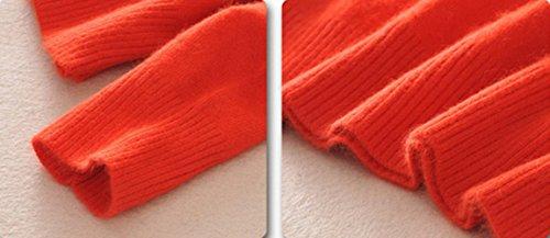 MMYOMI Damen Damen Rundhals Kaschmir Strickwaren Langarm Pullover Bluse Jumper Tops Strickpullover Orange