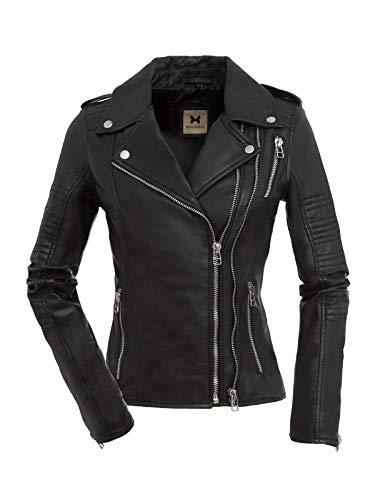 Magnifica Coole Lederjacke Kate in Schwarz aus hochwertigem Echtleder (L)