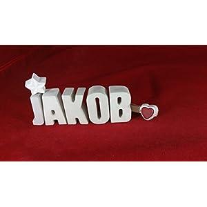 Beton, Steinguss Buchstaben 3D Deko Namen JAKOB als Geschenk verpackt!