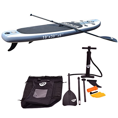 41nXEkUk5RL. SS500  - COSTWAY 10FT/11FT SUP Inflatable Stand Up Paddle Board W/Carry Bag, Repair Kit, Tail Vane, Adjustable Paddle, Hand Pump with Pressure Gauge, Ideal Beginners Soft Surfing Board Kit