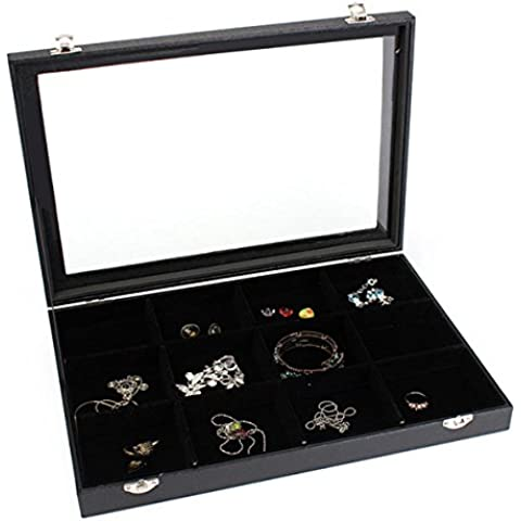 12 cuadrculas de la bandeja de joyas caja de almacenamiento de collares aretes pulseras