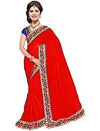 Rajeshwar Fashion Women's Georgette Border Work Saree With Unstitched Blouse Piece (MORE POPAT PRINTED BHAGALPURI...