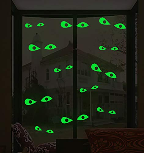 Lamdgbway Halloween Brillan en la Oscuridad Pegatina Calcomanías de Pared Luminosas Extraíbles Pegatinas de Pared Fluorescente Decoraciones de Halloween (12pcs Ojos Malvados)