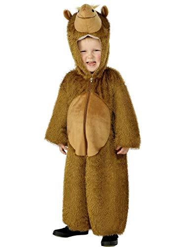 Luxuspiraten - Kinder Jungen Mädchen Kostüm Plüsch Kamel Camel Dromedar Fell Einteiler Onesie Overall Jumpsuit, perfekt für Karneval, Fasching und Fastnacht, 104-116, - Kind Camel Kostüm