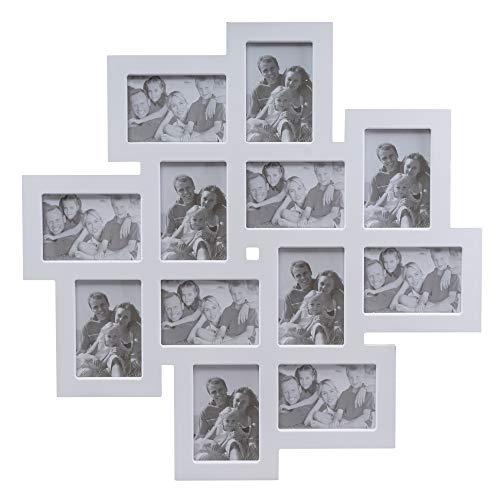 en Collage Fotorahmen groß in weiß aus Holz ideal für Family Fotowand (62 x 62cm) ()