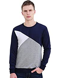 Sourcingmap Allegra K Christmas Men Color Block Crewneck Ribbed Trims Long Sleeves Sweatshirt T-Shirt
