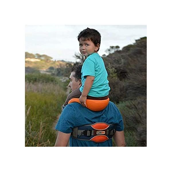 Shoulder Carrier Seat Saddle with Ankle Straps Cozy Seat and All-Direction Safety Protection for Child for Hiking Trails, Camping, Fitness Travel  Designed for Children 2-5 Years Hands-Free:Shoulder Carrier,Reduce the pressure on the your hands. Adjustable:Fits chest sizes ergonomic waist belt. 4