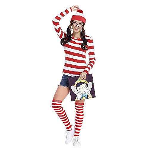 Halloween & Weihnachten Familie passenden Pyjama Cosplay Kinder Frauen Männer Kostüm-Kit, wo ist Waldo Wally Kostüm Set rot und weiß Streifen Hut T-Shirt Brillengestell und Socken (Waldo Kostüm Kit)