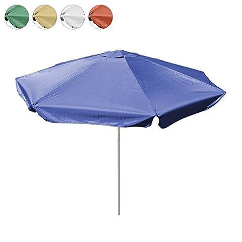 Sonnenschirm 4m mit Kurbel Alu Gestell Sonnenschutz Gartenschirm (Blau), Polyester 160 g/m² Gewicht