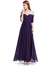 Ever Pretty Damen Abendkleid Ruched Bust Off Shoulder mit tiefem Ausschnitt lang Kleider Sommerkleid, geeignet für Cocktail, Hochzeit, Abendparty als auch Engagement,Homecoming