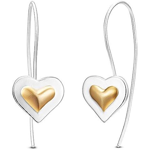 Argento puro 925 monachelle per orecchini, 18 k, con decorazioni a forma di cuore placcati oro, argento, 28