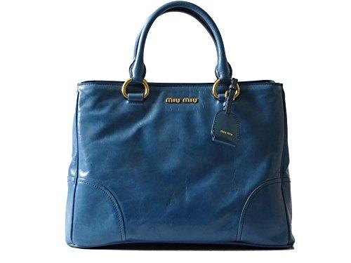 Miu Miu Tasche (Miu Miu - RN1092 - Damen Tasche - Vitello Shine - Doppel Zipp - Oceano - Bag - (LxBxH) 35/15/26cm)