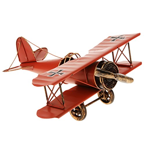 Toys Games Decorations Home Collection Model Plane Biplane Metal Tin 21 * 22 * 9.5cm - Red