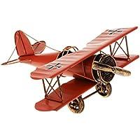 Juguetes Juegos Decoraciones Hogar Colección Modelo Avión Biplano Metal Estaño 21*22*9.5cm - Rojo
