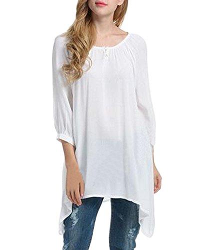 Auxo Femme Irrégulière Ourlets Col Rond Mousseline T-shirt Chemise Loose Tunique Long Blouses Blanc