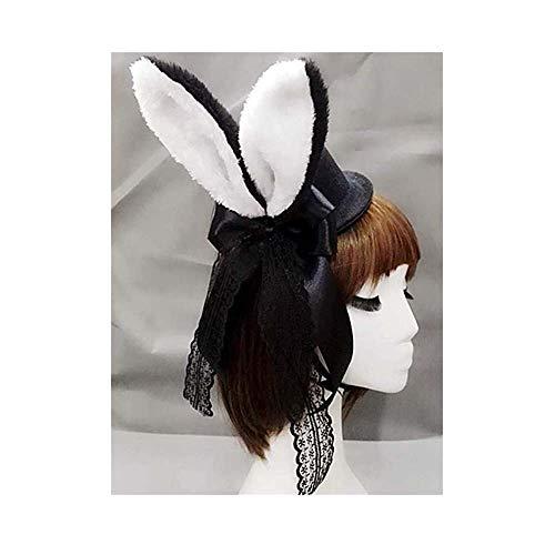 Lolita Damen Plüsch Flauschig Kaninchen Ohren Mini Top Hut Kostüm Rose Blume Spitze Zubehör Halloween Kleid Up