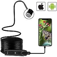 Endoscopio CLY Endoscopio USB Android / Iphone Cámara de Inspección CMOS HD de 2,0 Megapíxeles Endoscopio Boroscopio 5.5mm IP67 Endoscopio Portatil con 6 LED Ajustables para iOS Android Smartphone, Tableta (5M)