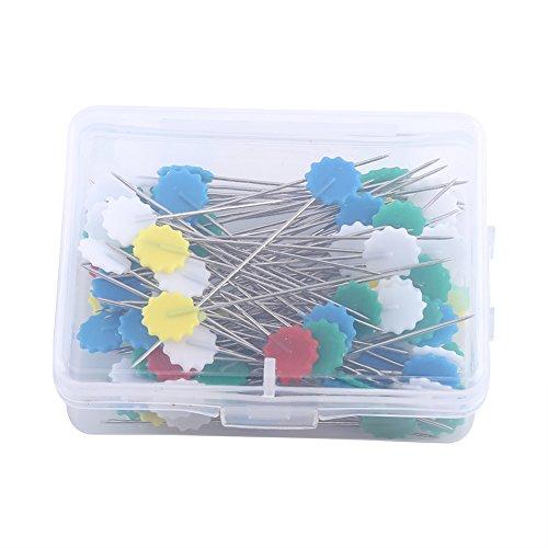 Fdit confezione da 100spille dritte, con capocchie colorate, per cucitura, artigianato, prodotto per il fai da te, motivo: fiore scuro