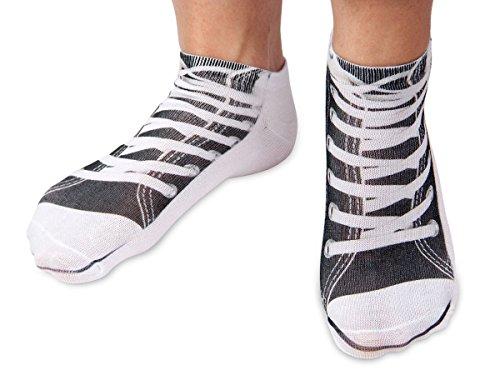 Preisvergleich Produktbild Alsino Sneakers- Motiv Söckchen Damen Teenager Socken Füßlinge One Size, Variante wählen:Chucks schwarz SO-02