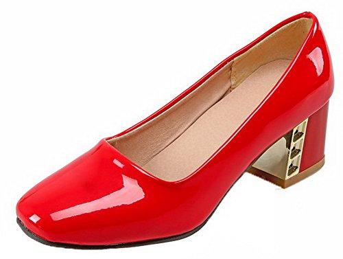 VogueZone009 Femme Verni Couleur Unie Tire à Talon Correct Chaussures Légeres Rouge