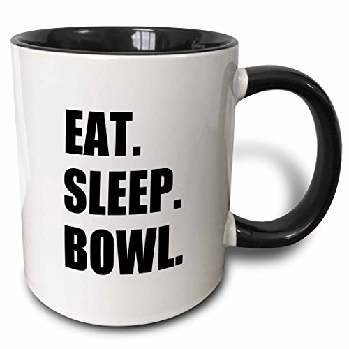 Mensuk Eat Sleep Bowl - passionate about bowling bowler black typography text - Two Tone Black Mug, 11oz (mug_180386_4), 11 oz, Black/White -