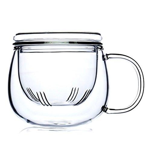 Borosilikatglas-Teetasse, mit Glas-Teesieb und Glasdeckel, hitzebeständig, Heißgetränk für Büro und zu Hause, für lose Teeblätter, 300 ml