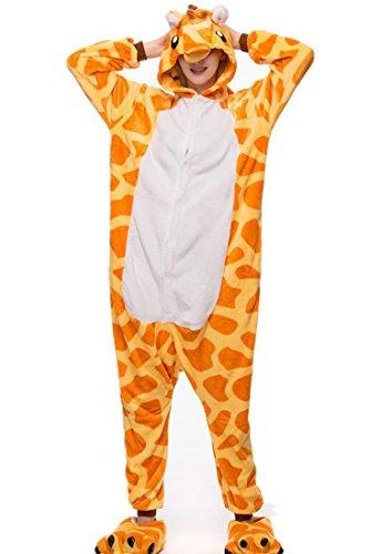 URVIP Unisex Festliche Anzug Flanell Pyjamas Trickfilm Jumpsuit Tier Cartoon Fasching Halloween Kostüm Sleepsuit Party Cosplay Pyjama Schlafanzug Giraffe ()