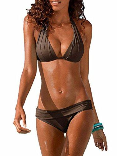 Lueyifs Damen Neckholder Bikini Set Sexy Halter Push Up Zweiteiliger Bikinis Einfarbig Badeanzug Bademode