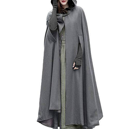 (Damen Gotisch Umhang mit Kapuze Poncho Kap Trenchcoat Open Front Cardigan Jacke Mantel Outwear Maxi Erwachsenen Bodenlänge Kostüm für Halloween Party Weihnachten Cosplay)