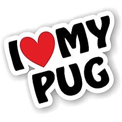 Pegatina para coche de los perros carlinos, con texto en inglés, diseño de corazón
