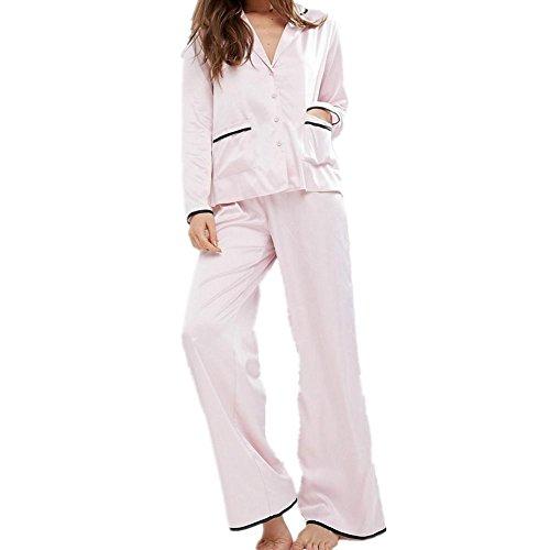 DMMSS Damen Edle Seide Pyjamaklage Shirt + Breite Beinhosen 2-Teiliges Set Home-Service , Light Powder , (Kostüme Erwachsenen Sonic)