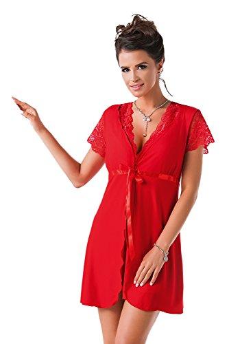 Donna edler Viskose-Mantel Bademantel mit subtilen Spitzenverzierungen, Taschen und Bindegürtel in toller Geschenkbox (M (38), Kurzarm rot)