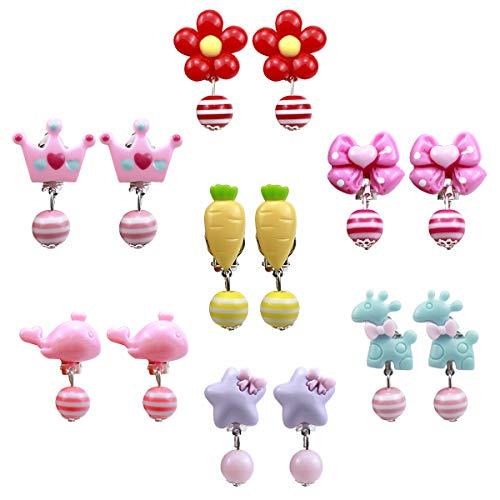 Set für Kinder Mädchen, 7 Paare Mädchen Spiel Ohrringe, Dress up Prinzessin Schmuck Zubehör für Geburtstag Party Geschenk Spielzeug Verpackt in transparenten Boxen (Cartoon) ()