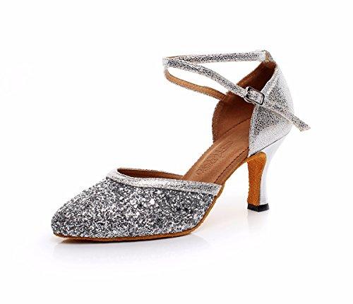 JINGXINSTOREDonna Scarpe da ballo latino della salsa Flash Feiner sandali tacchi Professional Indoor Argento