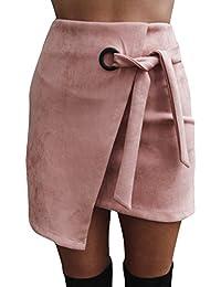 Annybar Damen Kurz Rock Sexy Asymmetric High Waist Mini Röcke Skirt mit  Tunnelzug 7807a94830