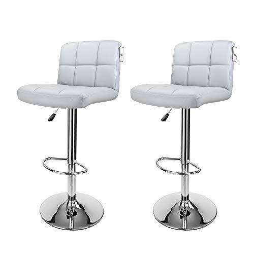 Display4top Taburetes de Bar, con Estructura cromada, sillas giratorias de 360 Grados,...