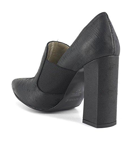 CAF MA442 NOIR chaussures noires femme dcollet pointe élastique gros talon Nero
