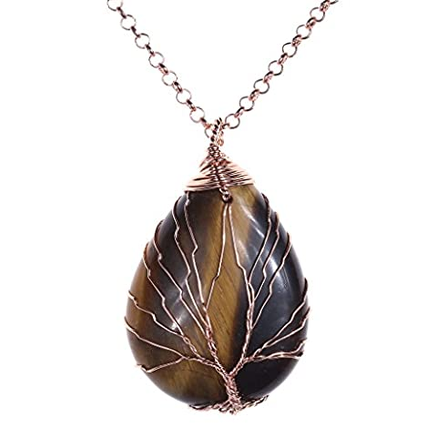 JOVIVI Vintage Tree of Life Wire Wrapped Copper Teardrop Natural
