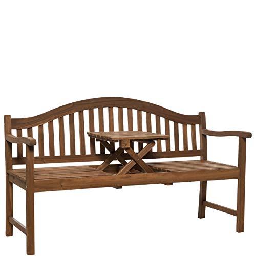 BUTLERS Banquette Holzbank mit Klapptisch 140x60x90 cm - Sitzbank mit Holztisch - Gartenbank, Holzbank im Landhaus Stil